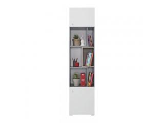 Simba - Regał trzydrzwiowy, 45/ 190 / 40 cm - Beton / Biały Lux / Dąb