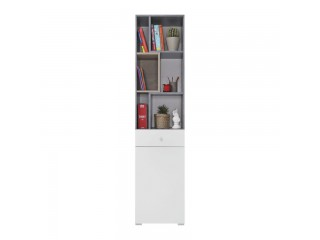 Simba - Bookcase, 45/ 190 / 40 cm - Concrete / White Lux / Oak