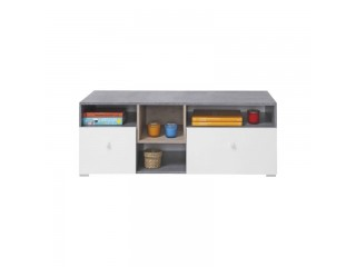 Simba - TV cabinet, 120 / 45 / 45 cm - Concrete / White Lux / Oak