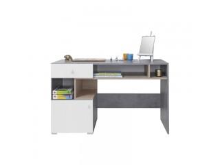 Biurko, 125 / 76 / 55 cm - Beton / Biały Lux / Dąb