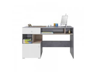 Simba - Desk, 125 / 76 / 55 cm - Concrete / White Lux / Oak