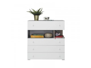 Simba - Chest of drawers, 85 / 90 / 40 cm- Concrete / White Lux / Oak