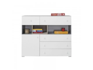 Simba - Chest of drawers, 110/ 90 / 40 cm- Concrete / White Lux / Oak