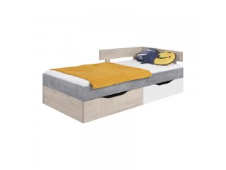 Simba - Bed, 204 / 75 / 124cm - Concrete / White Lux / Oak