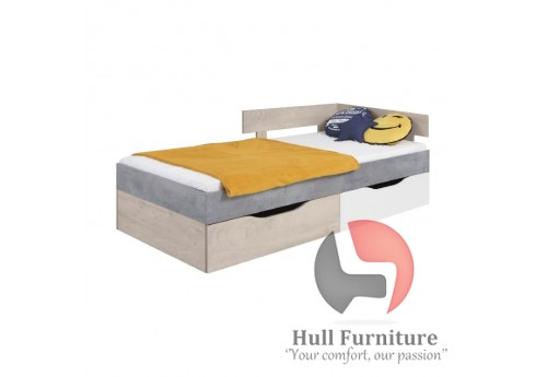 Simba - Bed, 204 / 75 / 124cm - Concrete / White Lux / Oak
