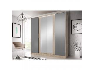 Meghan - 4 Door Mirrored Wardrobe - Sand Remo + Gray - 200 / 210 / 61cm
