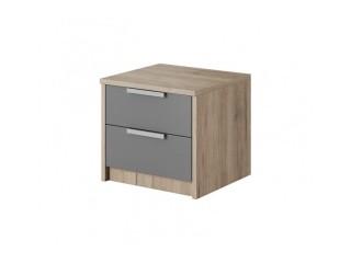 Meghan - 2 Drawer Bedside Table - Sand Remo + Gray - 50/ 40/ 40cm