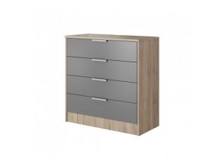 Meghan - 4 Drawer Chest - Sand Remo + Gray - 90/ 90/ 43cm