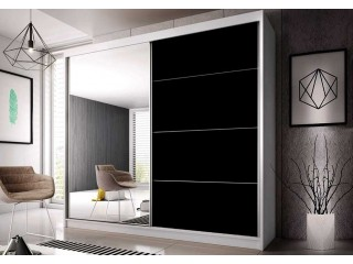 Lucy - Large White & Mirror Sliding Wardrobe - 183cm