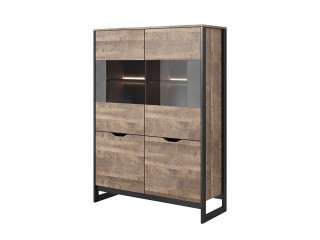 Arlo - Low Display Unit, Oak Sand Grande / Grey Concrete, 108.6 cm x 150 cm x 39.6 cm