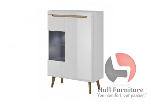 Low Display Cabinet - 90 / 134 / 40 cm, white / white gloss + riviera oak trim