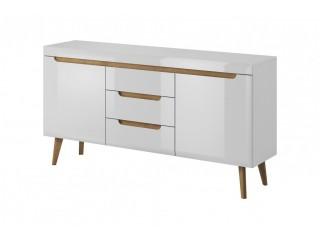 Adele - Sideboard -160 / 83 / 40 cm, white / white gloss + riviera oak trim