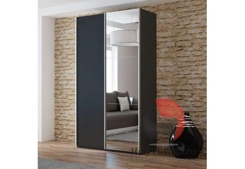 VIVA wardrobe 120cm, black + large mirror