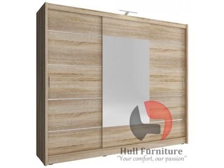 Victoria ALU 250cm - FREE LED LIGHT - Oak sonoma - Sliding door wardrobe with mirror