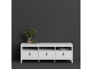 BARCELONA - Barcelona Tv-unit 3 drawers in White. W 1512 x H 541 x D 384 mm, FREE UK DELIVERY