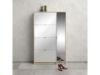 Shoe cabinet, 4 tilting doors and 2 layers + 1 mirror door