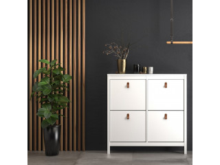 BARCELONA - Shoe cabinet in White. W 1024 x H 1029 x D 246 mm, FREE UK DELIVERY