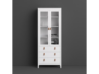 BARCELONA - Barcelona cabinet 2 doors w/glass + 3 drawers in White. W 778.5 x H 1990 x D 325 mm, FREE UK DELIVERY