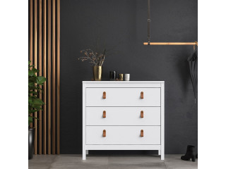 BARCELONA - Chest 3 drawers in White. W 821 x H 797 x D 384 mm, FREE UK DELIVERY