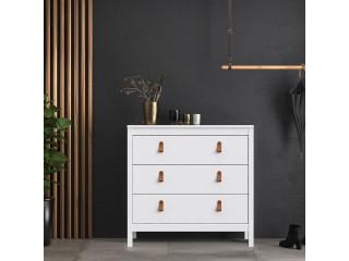 BARCELONA - komoda 3 szuflady w kolorze białym. Darmowa dostawa na terenie UK. SZ 821 x W 797 x G 384 mm