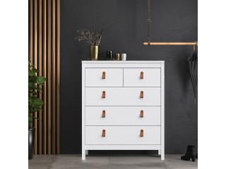 BARCELONA - Komoda 3 + 2 szuflady w kolorze białym. Darmowa dostawa na terenie UK. SZ 821 x W 989 x G 384 mm