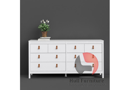 BARCELONA - Double dresser 4+4 drawers in White. W 1594 x H 797 x D 384 mm, FREE UK DELIVERY