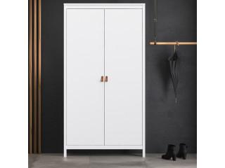 BARCELONA - Szafa Barcelona z 2 drzwiami w kolorze białym. Darmowa dostawa na terenie UK. SZ 1021 x W 1990 x G 584 mm