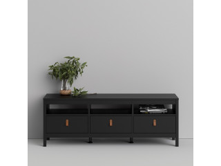 BARCELONA - Tv-unit 3 drawers in Black. W 1512 x H 541 x D 384 mm, FREE UK DELIVERY