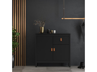 BARCELONA - Sideboard 2 doors + 1 drawer in Black. W 821 x H 797 x D 384 mm, FREE UK DELIVERY