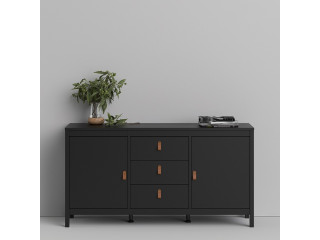BARCELONA - Sideboard 2 doors + 3 drawers in Black. W 1512 x H 797 x D 384 mm, FREE UK DELIVERY