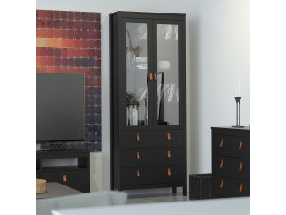 BARCELONA - unit 2 doors w/glass + 3 drawers in Black. W 778.5 x H 1990 x D 325 mm, FREE UK DELIVERY