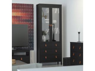 BARCELONA - Witryna 2 drzwi ze szkłem + 3 szuflady Czarna. Darmowa dostawa na terenie UK. SZ 778.5 x W 1990 x G 325 mm