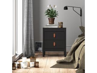 BARCELONA - Stolik nocny 2 szuflady w kolorze czarnym. Darmowa dostawa na terenie UK. SZ 436 x W 541 x G 384 mm