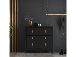 BARCELONA - Chest 3 drawers in Black. W 821 x H 797 x D 384 mm, FREE UK DELIVERY