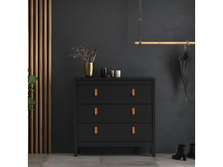BARCELONA - komoda 3 szuflady w kolorze czarnym. Darmowa dostawa na terenie UK. SZ 821 x W 797 x G 384 mm