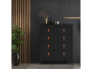 BARCELONA - Chest 3+2 drawers in Black. W 821 x H 989 x D 384 mm, FREE UK DELIVERY