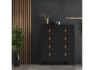 BARCELONA - Komoda 3 + 2 szuflady w kolorze czarnym. Darmowa dostawa na terenie UK. SZ 821 x W 989 x G 384 mm