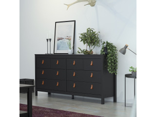 BARCELONA - Double dresser 4+4 drawers in Black. W 1594 x H 797 x D 384 mm, FREE UK DELIVERY