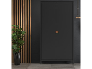 BARCELONA - Wardrobe with 2 doors in Black. W 1021 x H 1990 x D 584 mm, FREE UK DELIVERY