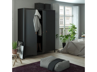 BARCELONA - Wardrobe with 3 doors in Black. W 1498 x H 1990 x D 584 mm, FREE UK DELIVERY
