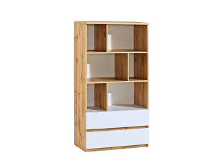 Ice - 2 Drawer Low Bookcase, W80.0cm x H151.0cm x D40.0cm,
