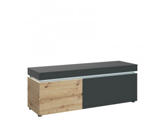 LUCI - 1 door 2 drawer 150 cm TV unit (inc. LED lighting) in Platinum and Oak. W 1504 x H 567 x D 480 mm, FREE UK DELIVERY