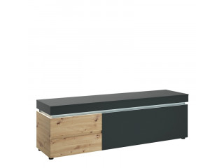 LUCI - 1 door 2 drawer TV unit (incl. LED lighting) in Platinum and Oak. W 1805 x H 567 x D 480 mm, FREE UK DELIVERY
