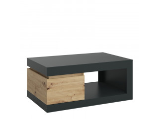 LUCI - 1 drawer coffee table in Platinum and Oak.W 1100 x H 503 x D 700 mm, FREE UK DELIVERY