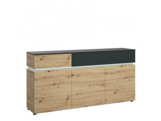 LUCI - 3 doors 2 drawers sideboard (inc. LED lighting) in Platinum and Oak.W 1100 x H 503 x D 700 mm, FREE UK DELIVERY