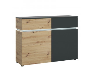 LUCI - Luci 2 door 2 drawer cabinet (including LED lighting) in Platinum and Oak. W 1204 x H 901 x D 400 mm, FREE UK DELIVERY