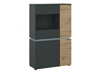 LUCI - Luci 4 doors low display cabinet (incl. LED lighting) in Platinum and Oak. W 904 x H 1460 x D 400 mm, FREE UK DELIVERY