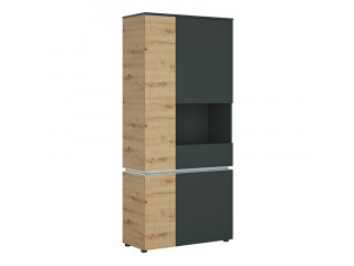 LUCI - 4 door tall display cabinet RH (including LED lighting) in Platinum and Oak. W 904 x H 1990 x D 400 mm, FREE UK DELIVERY