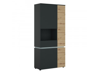 LUCI - 4 door tall display cabinet LH (including LED lighting) in Platinum and Oak. W 904 x H 1990 x D 400 mm, FREE UK DELIVERY