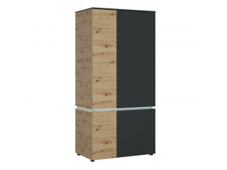LUCI - 4 door wardrobe (including LED lighting) in Platinum and Oak. W 954 x H 1990 x D 580 mm, FREE UK DELIVERY